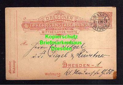 Privatpost Hansa Dresden 1890 Ganzsache Mitteilungs Karte Verein Dresdner