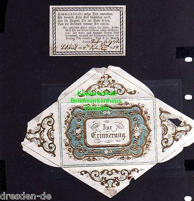 Taufbrief 1859 mit Spruchzettel Patenbrief Lobstädt ... Zur Erinnerung ..