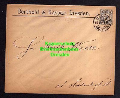 Privatpost Hansa Dresden 1889 Ganzsache Berthold & Kaspar an (Uhrmacher)