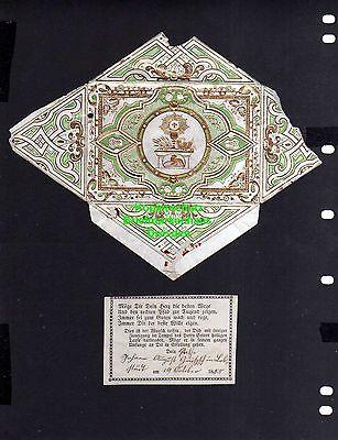 Taufbrief grün / golden ... 1855 mit Spruchzettel Patenbrief