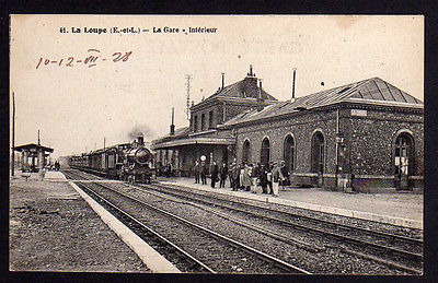 Ansichtskarte La Loupe La Gare  Bahnhof Gleisseite 1928