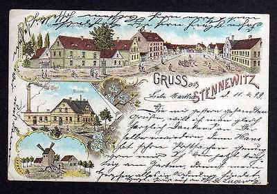Ansichtskarte Stennewitz 1899 Litho Gasthof Kühn Molkerei Windmühle Mole bei Halle ??