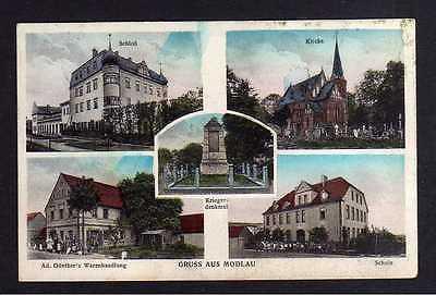 Ansichtskarte Modlau über Bunzlau 1936 Schloß Kirche Günthers Warenhandlung Schule