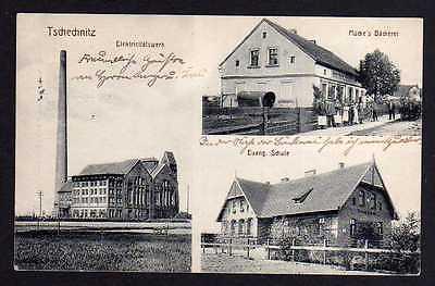 Ansichtskarte Siechnice Tschechnitz Elektrizitätswerk Bäckerei Schule 1914 Kattern