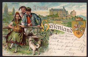 Ansichtskarte Gruss aus dem Hessenland Tracht Nidda 1904