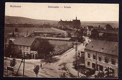 Ansichtskarte Heidenau Schule Haltestelle Kolonialwaren