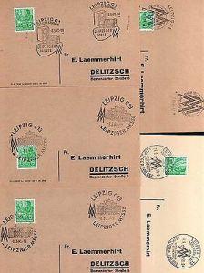 5x Karte DDR Leipziger Messe 1958 1960 4 verschiedene SST Ring Messe Haus