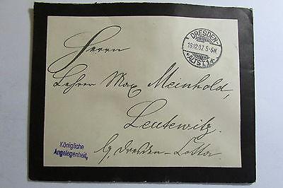 Trauerbrief Königliche Angelegenheit Dresden 1907 Siegelmarke in schwarz