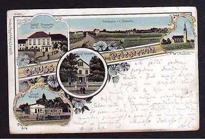 Ansichtskarte Priestewitz 1897 LithoBahnhof Wartehalle Restauration Gasthof Otto Bis