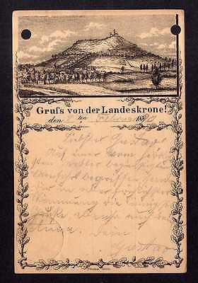 Ansichtskarte Görlitz Vorläufer 1890 Privatganzsache Landeskrone Variante 3 mit Eich