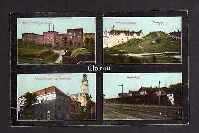 Ansichtskarte Glogau Glogow Bahnhof Krankenhaus Uhligberg Kriegsschule Theater Ratha