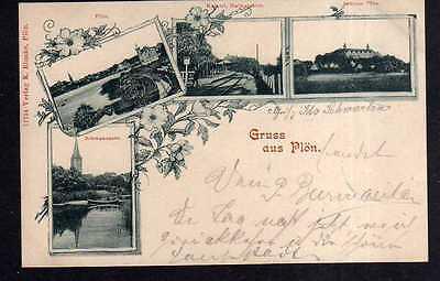 Ansichtskarte Plön 1900 Kaiserl. Haltestation Bahnhof Schloss Schwanensee