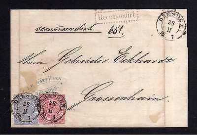 NDP Dresden Einschreiben Recomandirt 1870 nach Großenhain