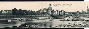 3teilige Panorama Klapp Ansichtskarte Dresden 1900 Dampfer