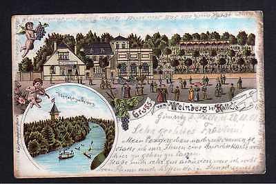 Ansichtskarte Weinberg bei Halle Litho 1901 Restaurant Gasthaus