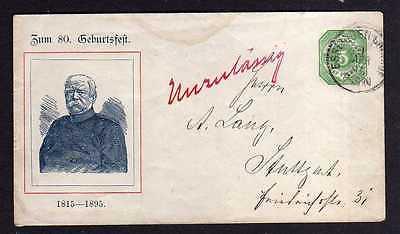Württemberg Ganzsache Privat Zum 80. Geburtsfest 1895 Esslingen nach Stut