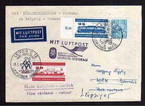 Brief DDR 559 560 Leipziger Messe 1957 Luftpost Mockau nach Wien 2 versch
