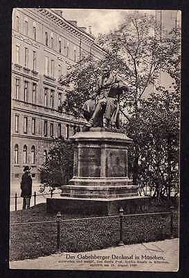 Ansichtskarte München 1912 Gabelsberger Denkmal Spendenmarke Vignette Werbefond