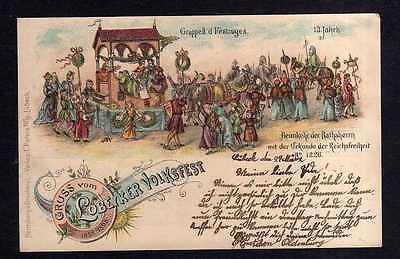 Ansichtskarte Lübeck Litho 1900 Lübecker Volksfest Festzug 13. Jahrhundert Heimkehr