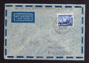 Brief DDR Leipziger Messe 1957 Luftpost Erstflug Frankfurt Main Stuttgart