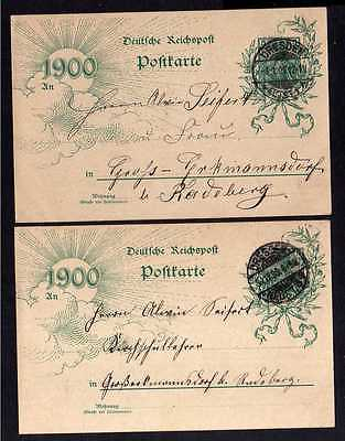 2x Jahrhundertganzsache Dresden 31.12.1899 und 1.1.1900