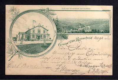 Ansichtskarte Remscheid Federlitho 1898 Holscheidsberg Anlagen Gasthaus