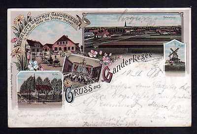 Ansichtskarte Litho Ganderkesee 1898 Gasthof Herklotz Mühle Windmühle Mole Bahnpost