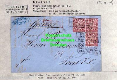 v893 NDP Faltbrief Stettin Stadt Post Expedition 1 A 1870 Einschreiben Recomandi