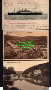 3 Ansichtskarte Norddeutscher Lloyd Bremen Reichspostdampfer König Albert 1902 dazu
