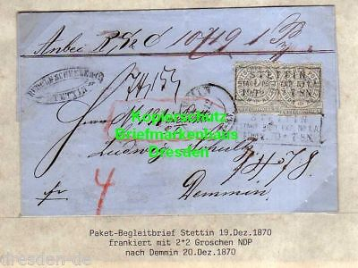 v894 NDP Faltbrief Stettin Stadt Post Expedition 1 A 1870 Paketbegleitbrief Rech