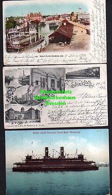 3 Ansichtskarte Stockton Cal. Kalifornien 1904 Waterfront Staten Island Muncipal Fer