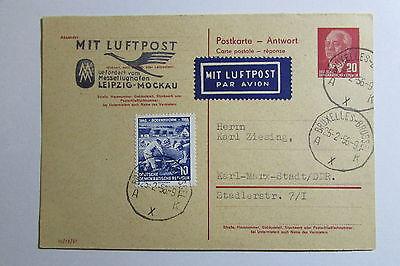 DDR Ganzsache P 61 II A Antwortteil 1956 Luftpost Leipzig Mockau