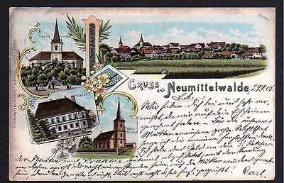 Ansichtskarte Neumittelwalde Litho 1901 Kirche Postamt Miedzyborz