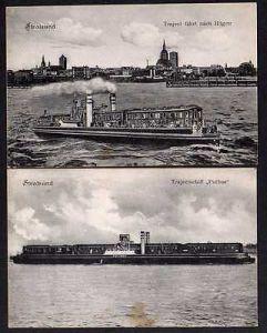 2 Ansichtskarte Stralsund 1909 Trajectschiff Putbus Rügen