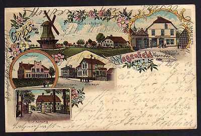 Ansichtskarte Wagenfeld i. Hannover 1900 Litho Windmühle Mole Langhorsts Gasthof Gut