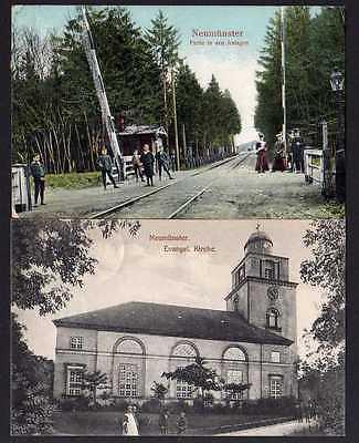 2 Ansichtskarte Neumünster Haltepunkt bahnhof Evangel. Kirche 1910