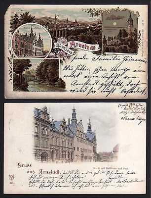 2 Ansichtskarte Arnstadt 1899 Markt Rathaus Post  Burg Neideck Litho