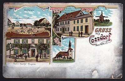 Ansichtskarte Cossdorf Bez. Halle Post Gasthof Kronprinz 1903 Windmühle Mole 0