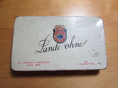 Schöne alte Blechdose Zigaretten Willhelm W. Lande Dresden Lande ohne