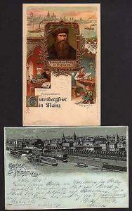 Ansichtskarte Mainz Litho Festpostkarte Gutenberg Feier 1900 Total Silberdruck