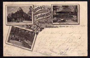 Ansichtskarte Bremen Schönebeck 1897 Restaurant Neue Weide Biergarten Schweizer Hütt