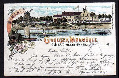 Ansichtskarte Gohliser Windmühle 1899 Litho Gohlis Stetzsch Kemnitz Restauration