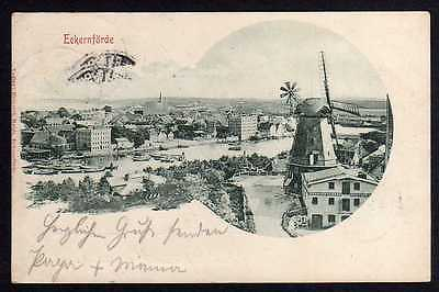 Ansichtskarte Eckernförde 1900 Windmühle Mole Hafen