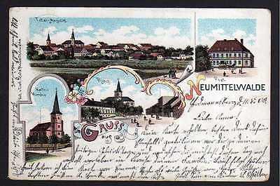 Ansichtskarte Neumittelwalde 1900 Litho Postamt Ring kath. Kirche Schlesien Honig