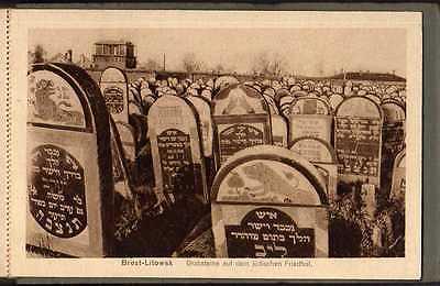 6 Ansichtskarte Brest-Litowsk Bahnhof G-Straße jüdischer Friedhof verbrannte Häuser