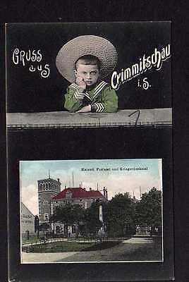 Ansichtskarte Crimmitschau um 1910 kaiserliches Postamt Kriegerdenkmal Kind