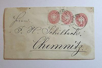 Österreich um 1866 5 Kreuzer Ganzsache Aussig nach Chemnitz