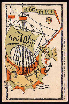 Ansichtskarte Holztafeldruck 15. Jh. 1914 Ausstellung Buchge