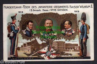 Ansichtskarte Gießen Privatganzsache 100 Jahrfeier 1913 Infanterie Regiment Kaiser W 0