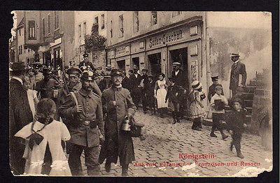Ansichtskarte Königstein Elbe 1914 Seifen Geschäft gefangene Franzosen Russen